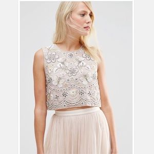 Needle & Thread Sequin Embellished Bib Top